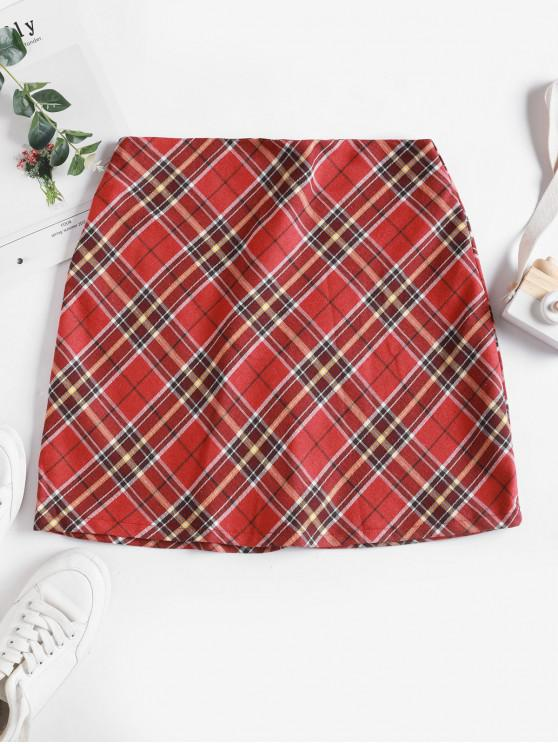 ladies Plaid Back Zipper Mini A Line Skirt - RED 2XL