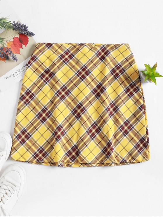 trendy Plaid Back Zipper Mini A Line Skirt - YELLOW M