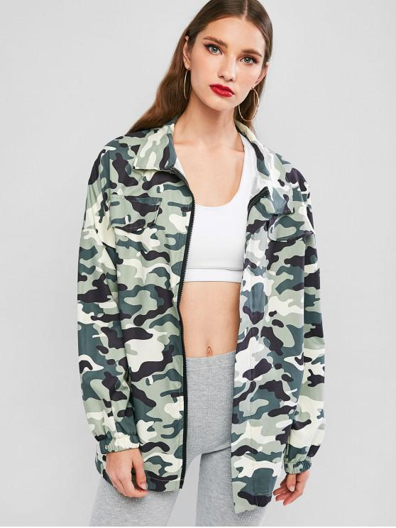 Camuflaje Zip Up gota túnica del hombro de la chaqueta - ACU Camuflaje M