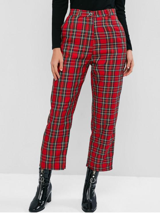affordable Plaid High Waisted Pocket Pencil Pants - RED L