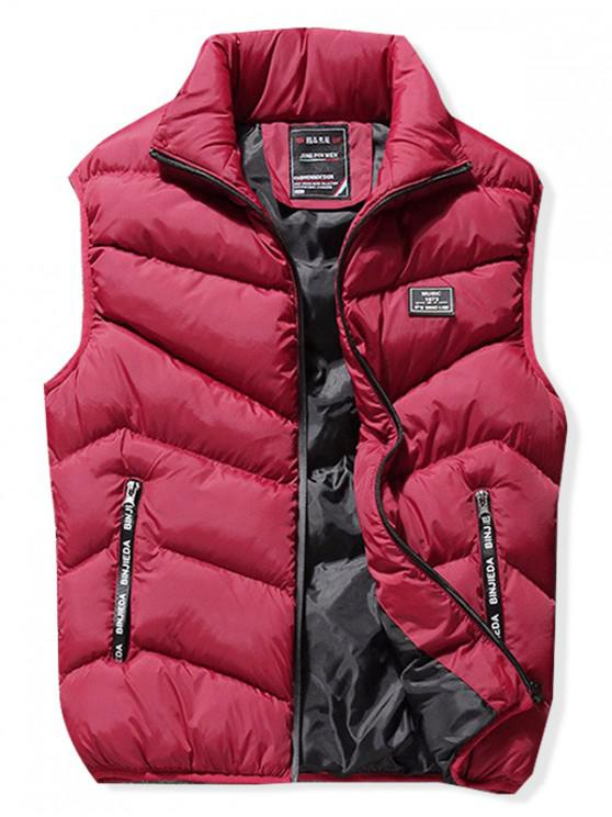 best Stand Collar Front Zip Pockets Puffer Waistcoat - RED XL