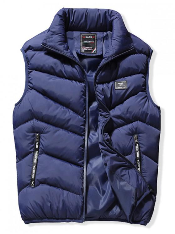 fashion Stand Collar Front Zip Pockets Puffer Waistcoat - DEEP BLUE M