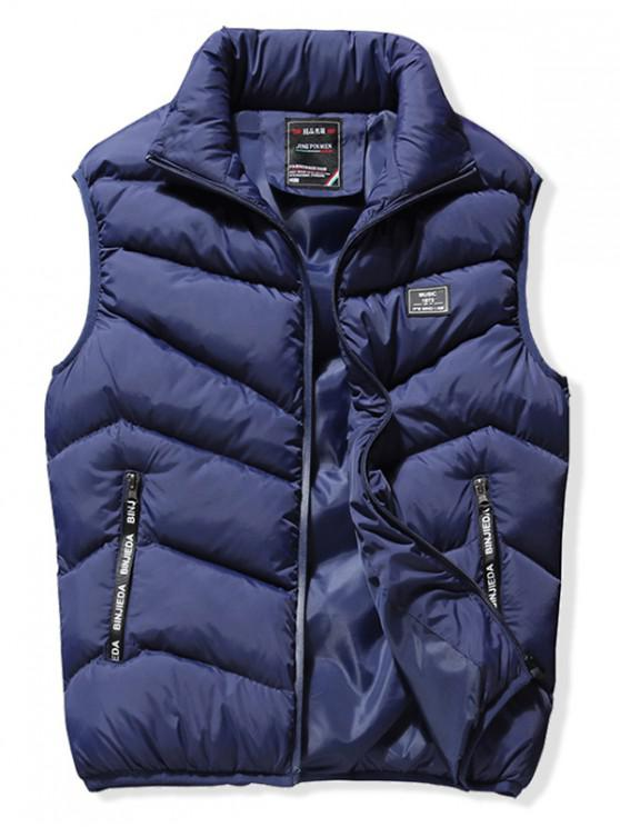 online Stand Collar Front Zip Pockets Puffer Waistcoat - DEEP BLUE XS