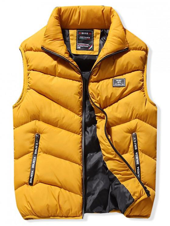 outfits Stand Collar Front Zip Pockets Puffer Waistcoat - YELLOW XS