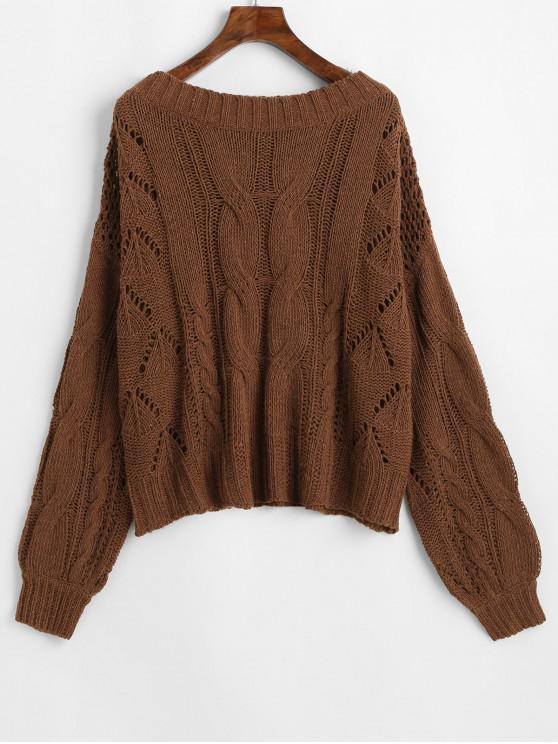 new ZAFUL Openwork Drop Shoulder Jumper Sweater - BROWN ONE SIZE