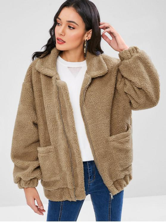 Fluffy Zip Up inverno Teddy Coat - Orso Bruno M