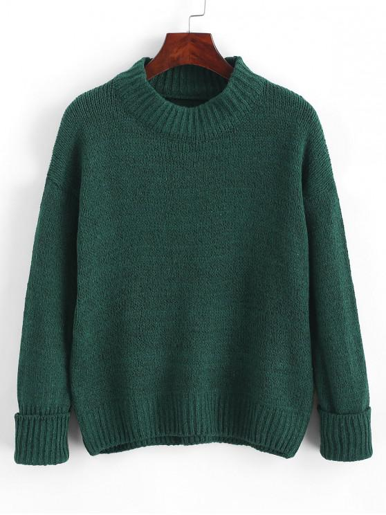 shops Crew Neck Heathered Loose Sweater - DEEP GREEN ONE SIZE