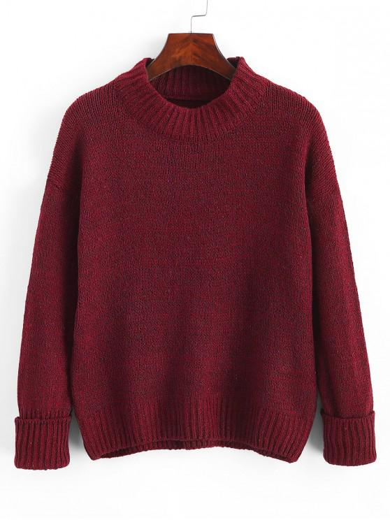 trendy Crew Neck Heathered Loose Sweater - RED WINE ONE SIZE