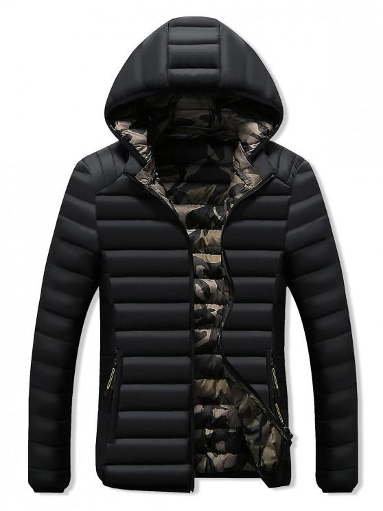 women Camo Lined Hooded Down Jacket - BLACK S