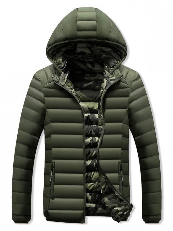 women's Camo Lined Hooded Down Jacket - ARMY GREEN S
