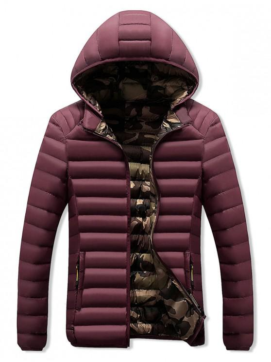 fashion Camo Lined Hooded Down Jacket - RED WINE XS