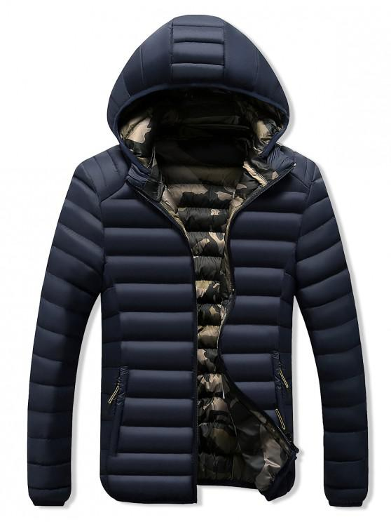 shop Camo Lined Hooded Down Jacket - DEEP BLUE M