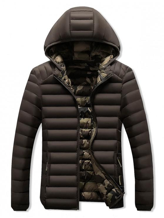 chic Camo Lined Hooded Down Jacket - COFFEE M