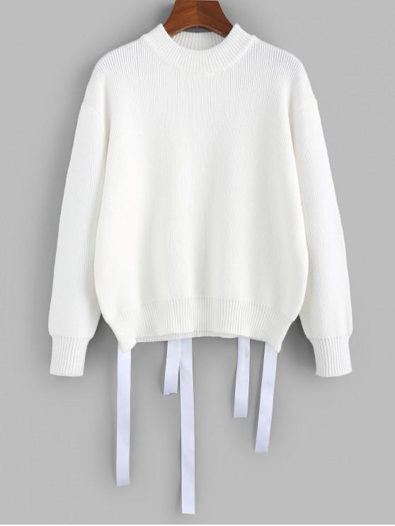 sale ZAFUL Drop Shoulder Ribbon Embellished Jumper Sweater - WHITE L