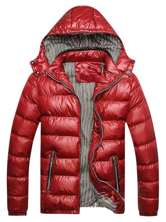 fashion Zip Up Pockets Striped Lined Down Jacket - RED L