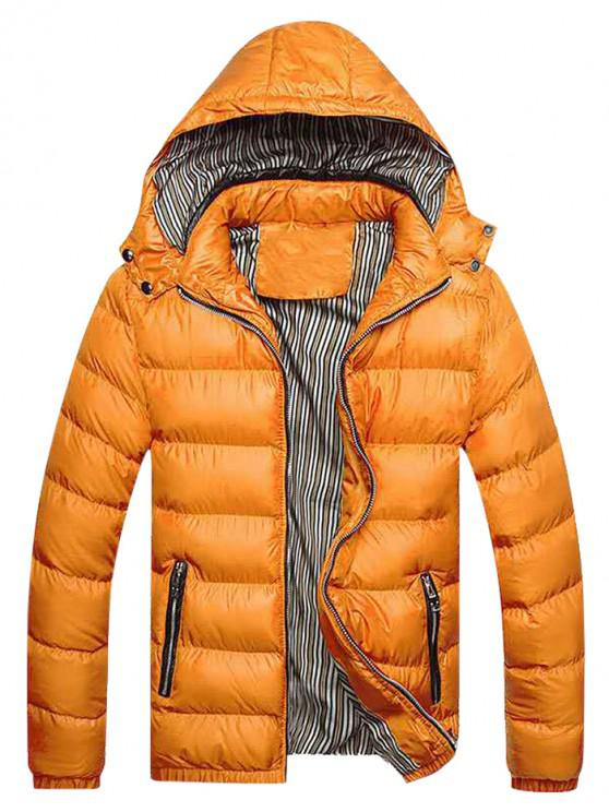 new Zip Up Pockets Striped Lined Down Jacket - GOLDEN BROWN XL
