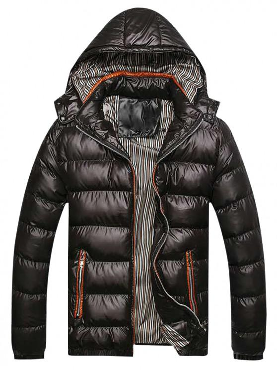 shop Zip Up Pockets Striped Lined Down Jacket - BLACK XS