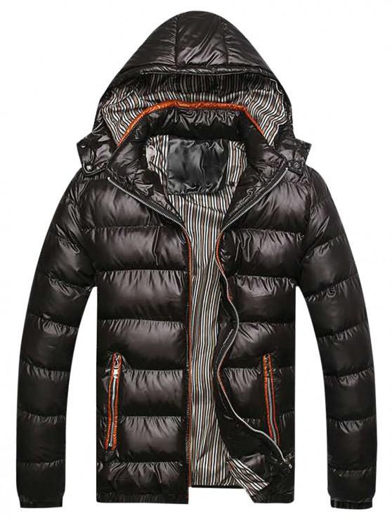 Cerrar la cremallera de los bolsillos de rayas alineado por la chaqueta - Negro S