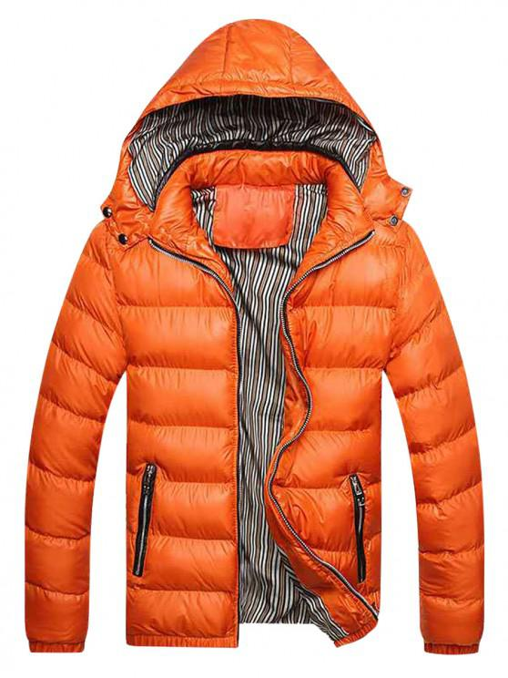 women's Zip Up Pockets Striped Lined Down Jacket - ORANGE XS