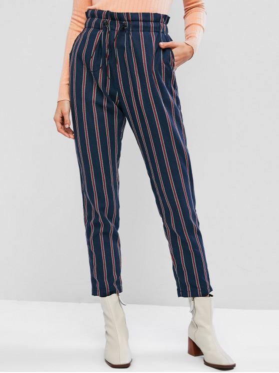 fashion ZAFUL Pinstripe OL Paperbag Pants - CADETBLUE XL