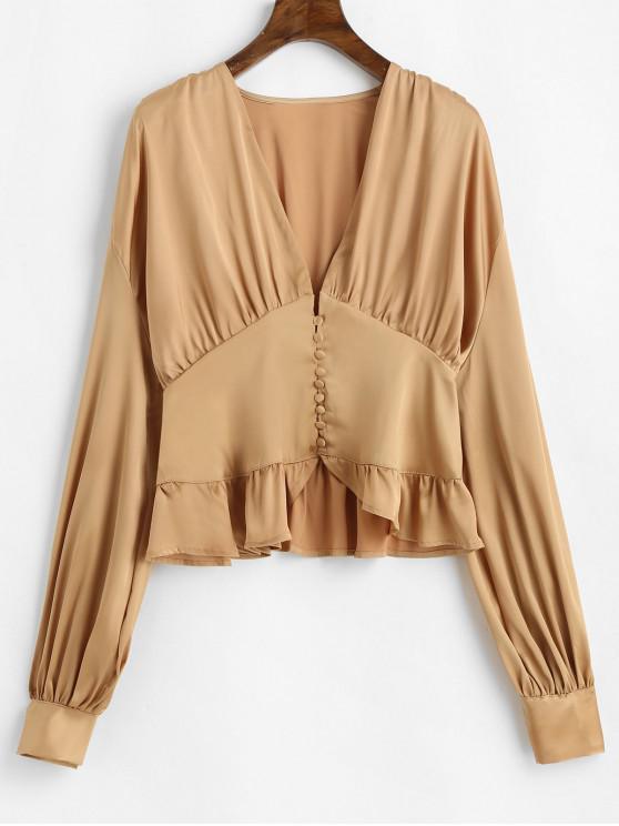 fashion Ruffle Lantern Sleeve Satin Blouse - CHAMPAGNE GOLD S