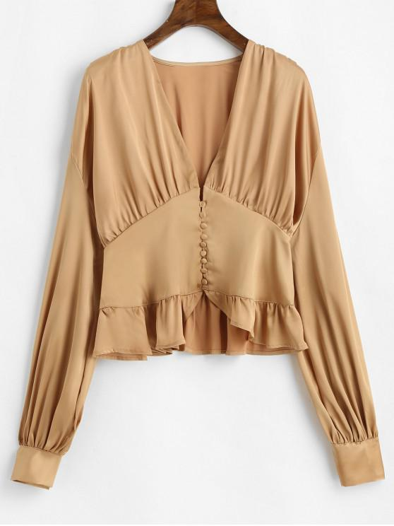 fancy Ruffle Lantern Sleeve Satin Blouse - CHAMPAGNE GOLD L