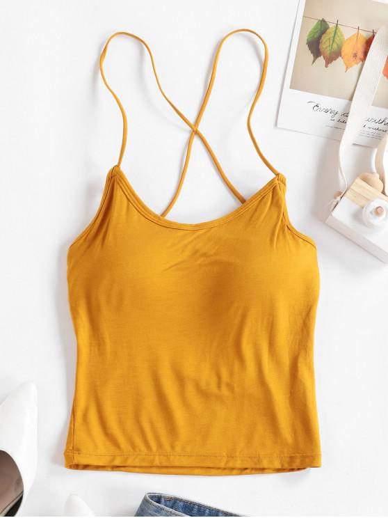 fashion Strappy Caged Padded Cami Top - ORANGE GOLD ONE SIZE