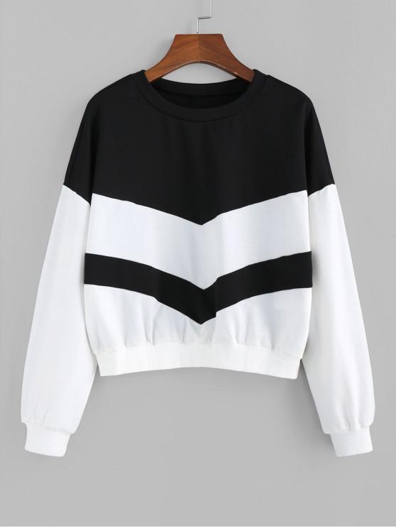 ZAFUL Sweat-shirt Bicolore Côtelé en Tricot - Noir S