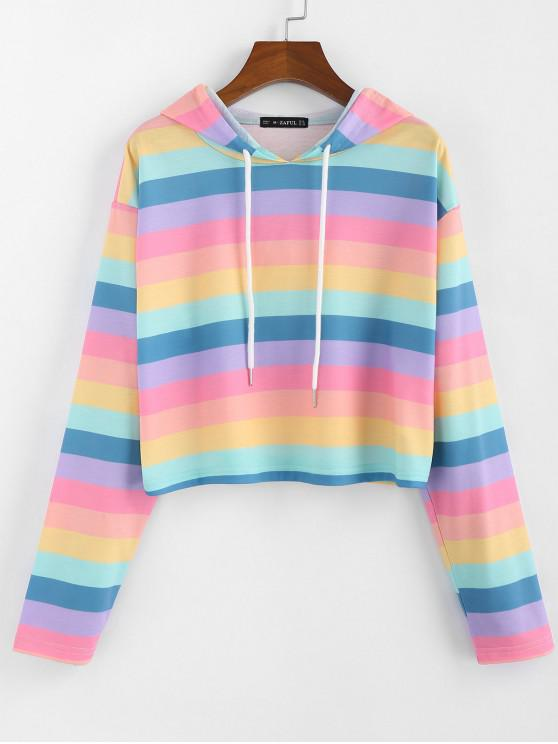 new ZAFUL Rainbow Striped Cropped Hoodie - MULTI XL