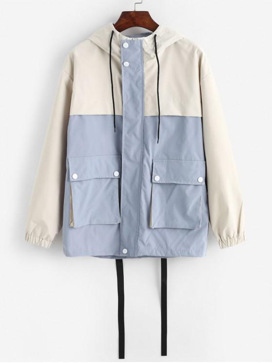 latest Colorblock Flap Pockets Hooded Field Jacket - BLUE GRAY S