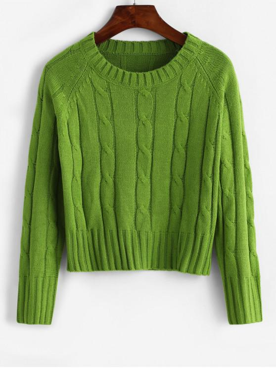 fashion Solid Raglan Sleeve Cable Knit Crew Neck Sweater - GREEN ONE SIZE