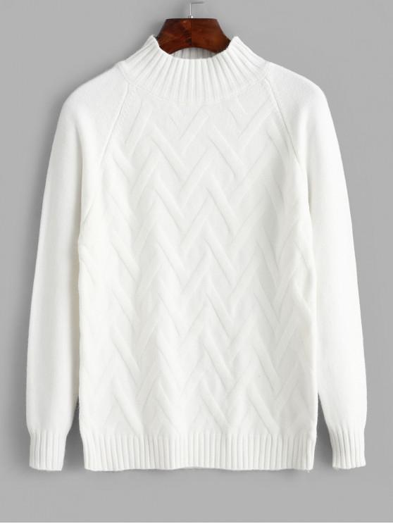 lady Solid Pullover Mock Neck Raglan Sleeve Sweater - WHITE ONE SIZE