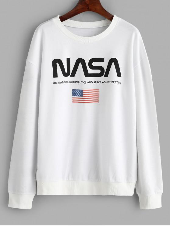 latest ZAFUL American Flag Letter Graphic Loose Fit Sweatshirt - WHITE L