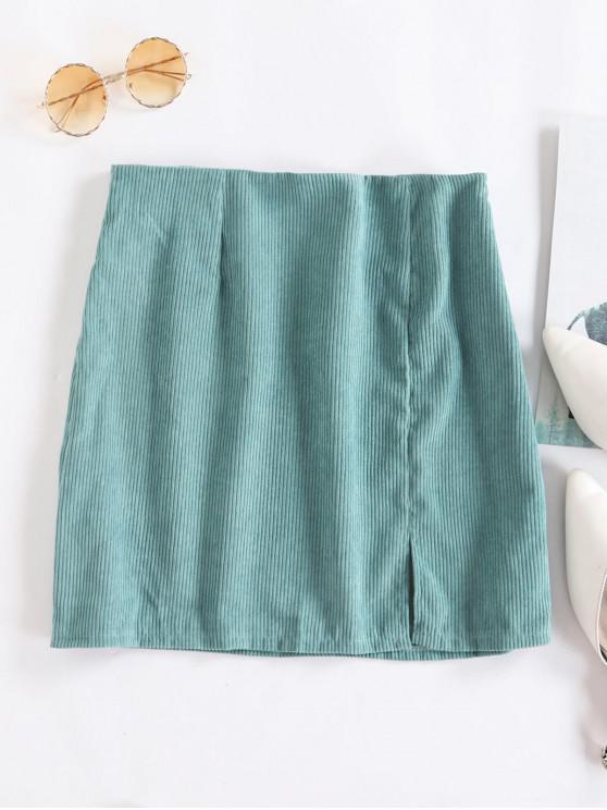 fancy Slit Solid Corduroy A Line Skirt - GREEN S