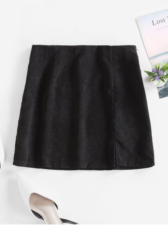 hot Slit Solid Corduroy A Line Skirt - BLACK XL