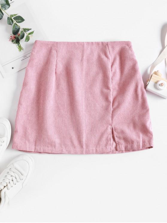latest Slit Solid Corduroy A Line Skirt - PINK XL