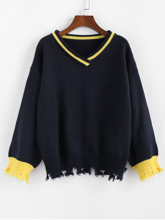 fashion ZAFUL V Neck Drop Shoulder Frayed Hem Sweater - DENIM DARK BLUE S
