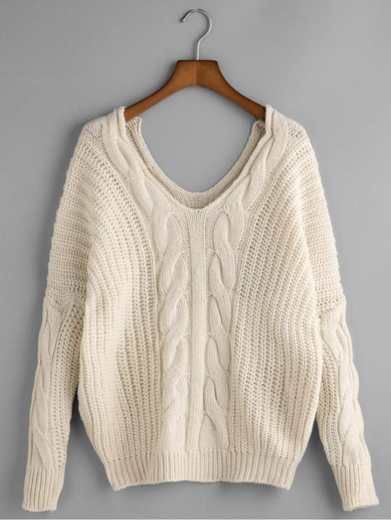 outfits Drop Shoulder Double V Cable Knit Sweater - WHITE ONE SIZE