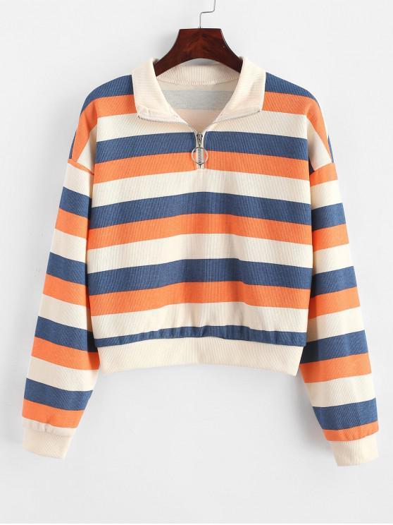 Sweat-shirt Rayé Zip en Avant à Goutte Epaule - Multi L