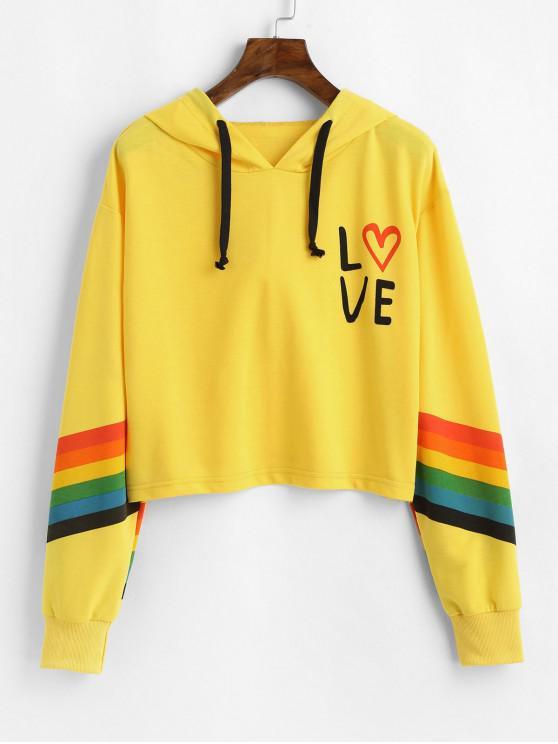 latest ZAFUL Rainbow Striped Drop Shoulder Graphic Hoodie - YELLOW XL
