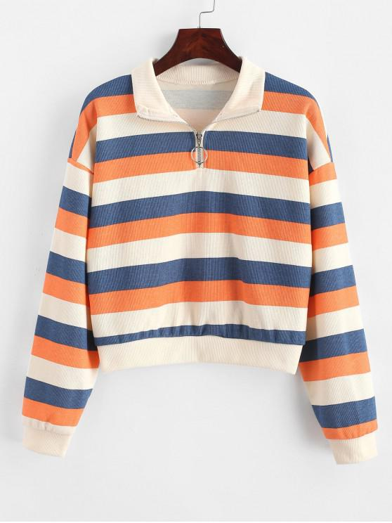 outfits Drop Shoulder Stripes Half Zip Sweatshirt - MULTI S