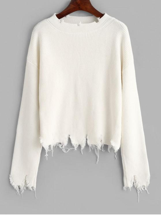 online Ripped Solid Loose Sweater - WHITE ONE SIZE