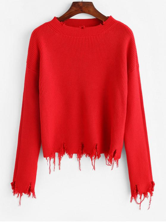 Rupt Loose Pulover Solid - roșu O marime