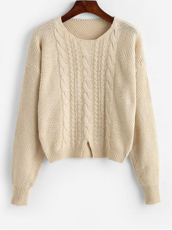 fancy Cut Out Cable Knit Crop Sweater - APRICOT ONE SIZE