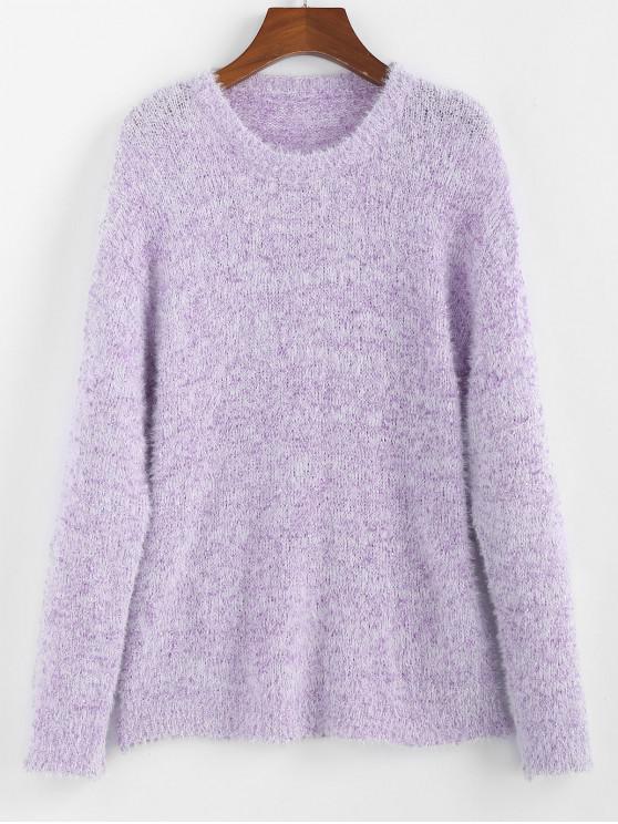 hot ZAFUL Drop Shoulder Fuzzy Jumper Sweater - MAUVE L
