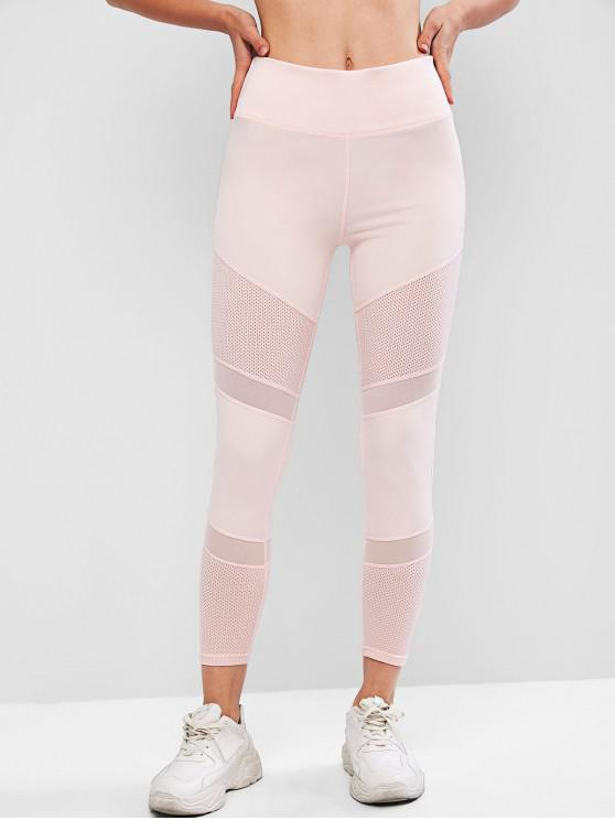 ladies Mesh Panel Perforated Sports Leggings - PINK S