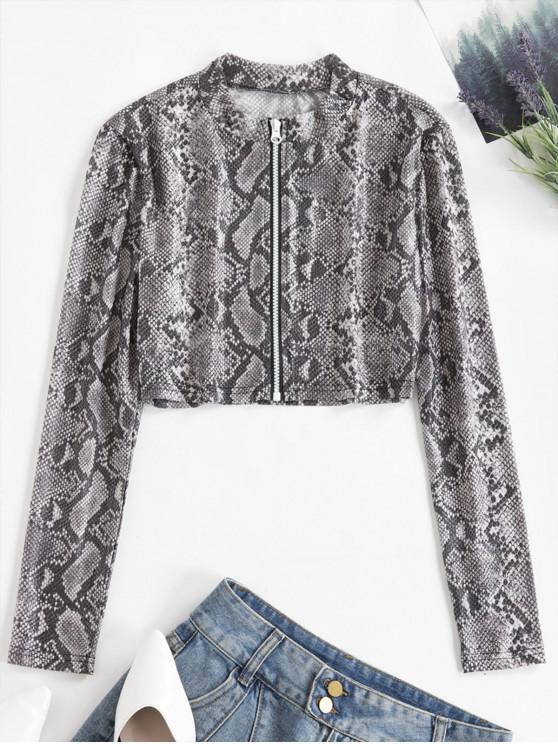 fashion Snakeskin Print Zip Up Mesh Tee - MULTI S