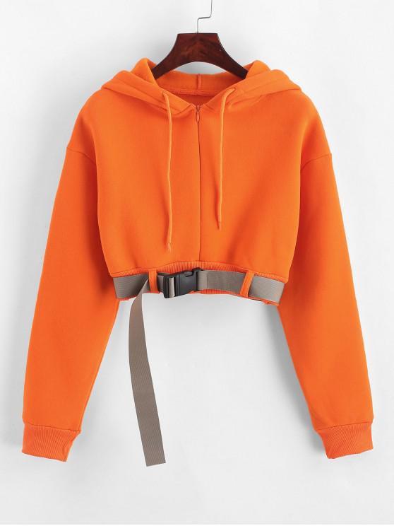 women's Fleece Lined Zip Belted Crop Drop Shoulder Hoodie - ORANGE M