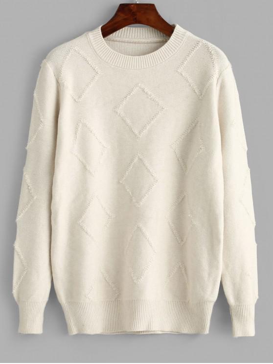 Pullover Strukturierter Rundhalsausschnitt Pullover - Warmweiß Eine Größe