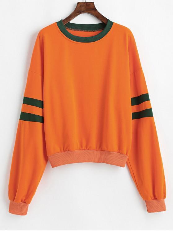 Sweat-shirt Bicolore Contrasté à Goutte Epaule - Orange L